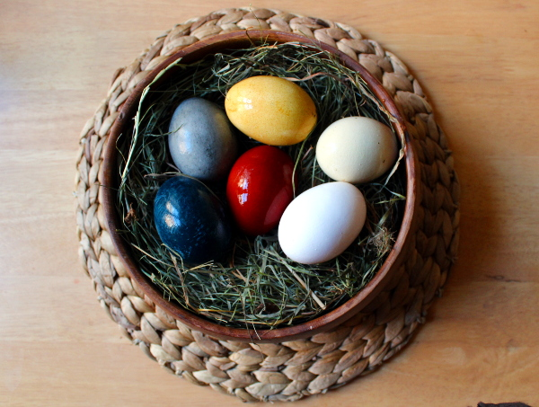 Mit Naturmaterialien gefärbte Eier