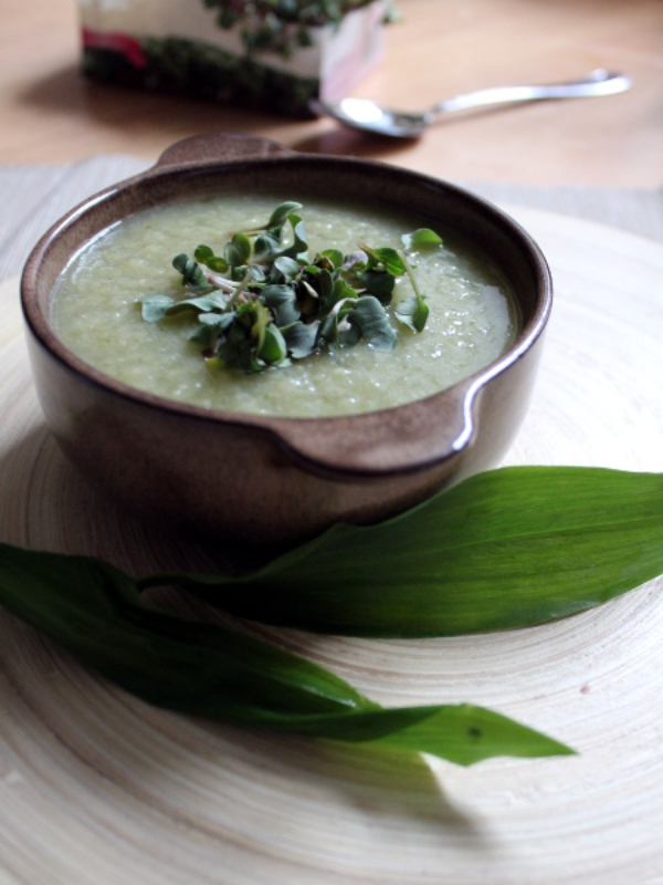 Spargel-Suppe mit Bärlauch und Sprossen