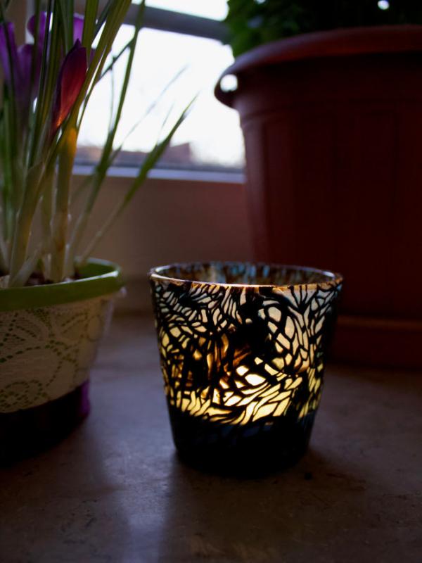 Kerzengläser mit Fimo-Modelliermasse