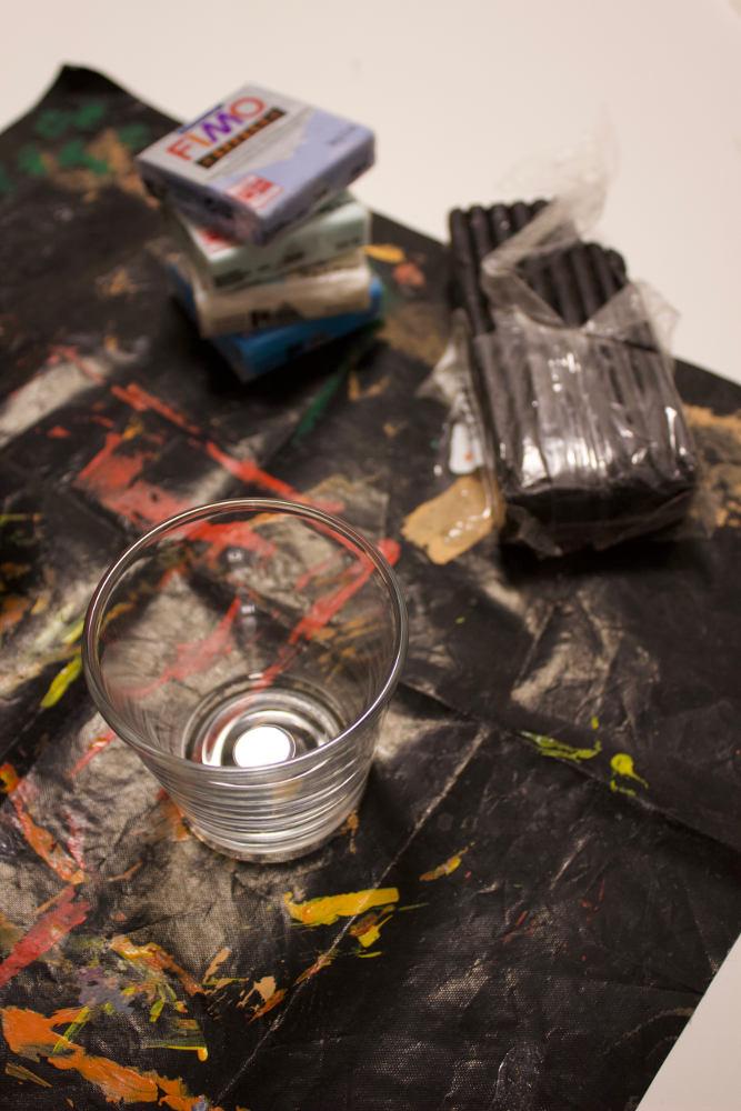 Material für selbstgemachte Fimo-Kerzengläser